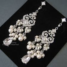 chandelier bridal earrings e0022 ivory pearl bridal earrings