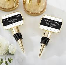 gold wine bottle stopper wedding favors with custom mr mrs design design labels