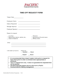 Paid Time Off Form Template Request Form Template Time Off Request Form Template 4 Templates