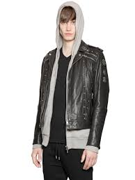 lyst sel studded smooth leather jacket in black for men