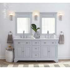 Home Decorators Collection Sadie 67 In W Double Bath Vanity In Dove Grey With Marble Vanity Top In Natural White 9673300270 The Home Depot Marble Vanity Tops Bathroom Redesign Gray Double Vanity