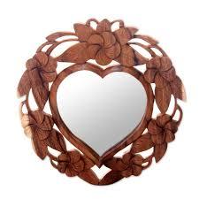 wood wall mirrors. Heart-Shaped Wood Wall Mirror With Floral Motif - Frangipani Heart | NOVICA Mirrors