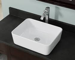 image of square white vessel sink