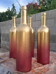 Gradient Wine Bottles ~ (Step Get some wine bottles from a restaurant (or  your own collection) Step Clean off labels Step Spray with metallic gold  spray ...