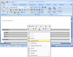 Microsoft Word Update All Fields Ms Word 2007 Update A Table Of Contents