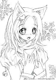 Anime Printable Coloring Pages Coloring Pages Anime Cat Girl