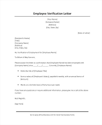 Letter Of Employment Verification Verification Of Employment ...
