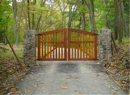 cedar wooden gate with rich stain
