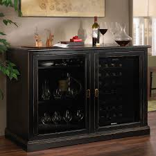 Wine Refrigerator Cabinet Mahogany Material Black Finish Built In