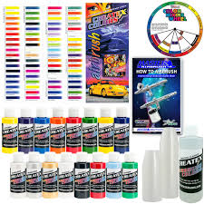 Details About Createx Super 16 Colors 2oz Starter Airbrush Paint Kit Hobby Craft Art