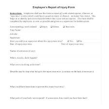 Workplace Injury Report Form Template Free Sports Accident