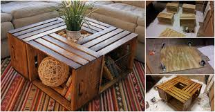 diy coffee table from recycled wine crates