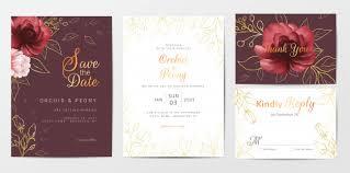 Elegant Invitation Cards Elegant Golden Flowers Wedding Invitation Cards Template Set