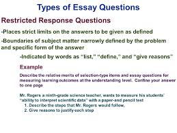 edu 385 session 10 writing supply items short answer and essay types of essay questions restricted response questions places strict limits on the answers to be