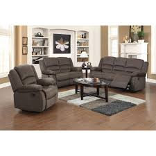 Ellis Contemporary Microfiber Piece Living Room Set Dark Brown