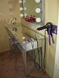 makeup vanity with wall mounted diy blow dryer flat iron holder