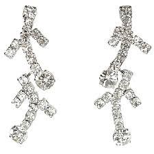 dressy costume jewellery bride wedding party dress accessories clear diamante chandelier branch drop earrings loading zoom
