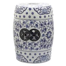 patio stool: tao blue and white garden patio stool