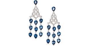 lyst john hardy classic chain london blue topaz diamond sterling silver knot chandelier earrings in blue