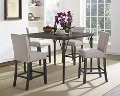 brayden studio raquel wood counter height 5 piece dining set with fabric nailhead chairs upholstery color tan