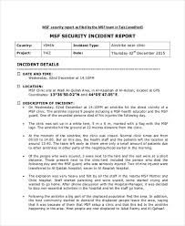 Security Incident Report Form Sample Security Incident Report