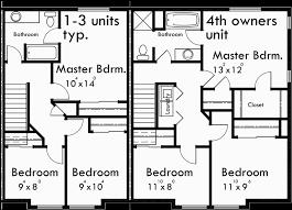 4 Plex Plans Fourplex With Owners Unit Quadplex Plans F537 Quadplex Plans