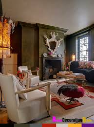 Home Interiors:Stunning Bohemian Style Interior Design With Old Style  Fireplace Inspiring Bohemian Interior Design