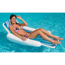 swimline blue white sunchaser sling style floating pool lounge chair
