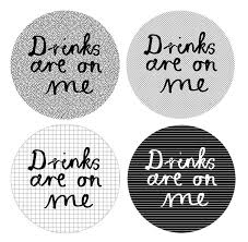 set of four 'drinks are on me' coasters by karin Åkesson design