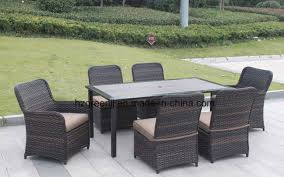 china wicker furniture outdoor dining table set with rattan chair 0051 10mm half moon curve flat wicker and 5mm round wicker china extending table round