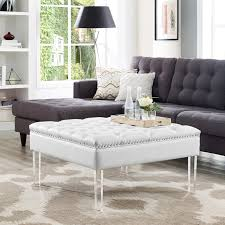 inspired home kayla square faux leather coffee table ottoman com