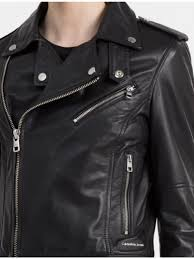 womens calvin klein clothing soft leather biker jacket ck black