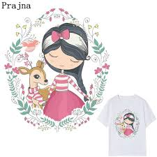 2019 <b>Prajna</b> Cute Girl & Deer Patch Heat Transfers <b>Cartoon</b> Clothes ...