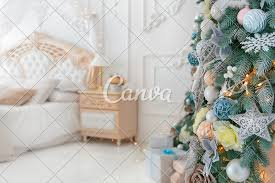 Christmas Bright White Lights Bright White Bedroom Iterior With Christmas New Year Tree