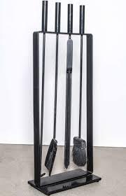 minimalist black iron fireplace tool set by pilgrim at stdibs
