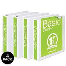 Wilson Jones 1 1 2 Inch 3 Ring Binders Basic Round Ring View Binders White 4 Pack W70362 34wpp