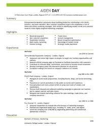 Marketing Job Resume Examples Resume For Marketing Job Marketing Templates