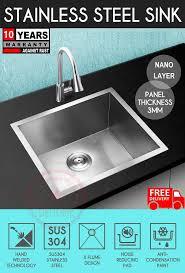 4540 nano handmade 304 stainless steel kitchen sink under mount single bowl free