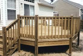 unfinished wood deck railing design with matching wooden deck