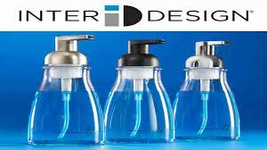 mdesign glass foaming soap dispenser pump 2 pc bathroom accessory set clear