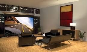 home theater room design ideas sleek round glass table twin table lamp on nightstand decor ideas