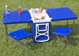 rolling cooler with fold out table and chairs mini picnic table cooler