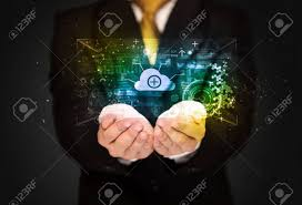 businessman holding a shining data cloud in front of his body stock photo 39334516