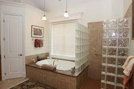 doorless walk in shower with glass block walls