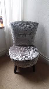 silver crushed velvet round bedroom chair