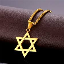virtualusa com jewish jewelry magen star of david pendant necklace women men chain rose gold plated stainless steel israel necklace com