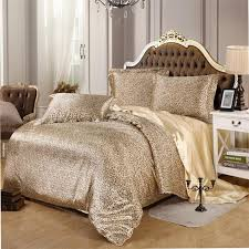 bedding set gold leopard bed linen silk satin sheets soft duvet cover for home bedspreads 4pcs twin full queen king