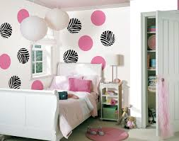 White Wall Paint Decorating In A Teen Bedroom Decor With Pink Dot And Black  Also Pendant ...