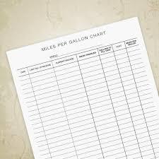 Gas Mileage Spreadsheet Miles Per Gallon Chart Printable Form Mileage Sheet Gas Mpg Etsy