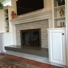 Hand stacked fireplace facade.